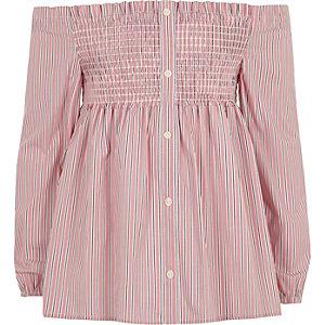 Roze gesmokte bardottop met strepen voor meisjes