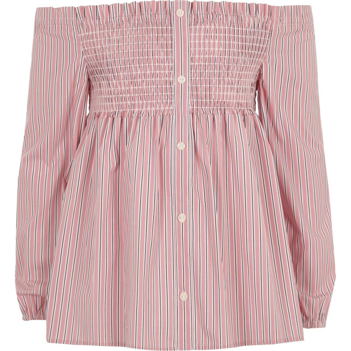 Girls pink stripe shirred bardot top