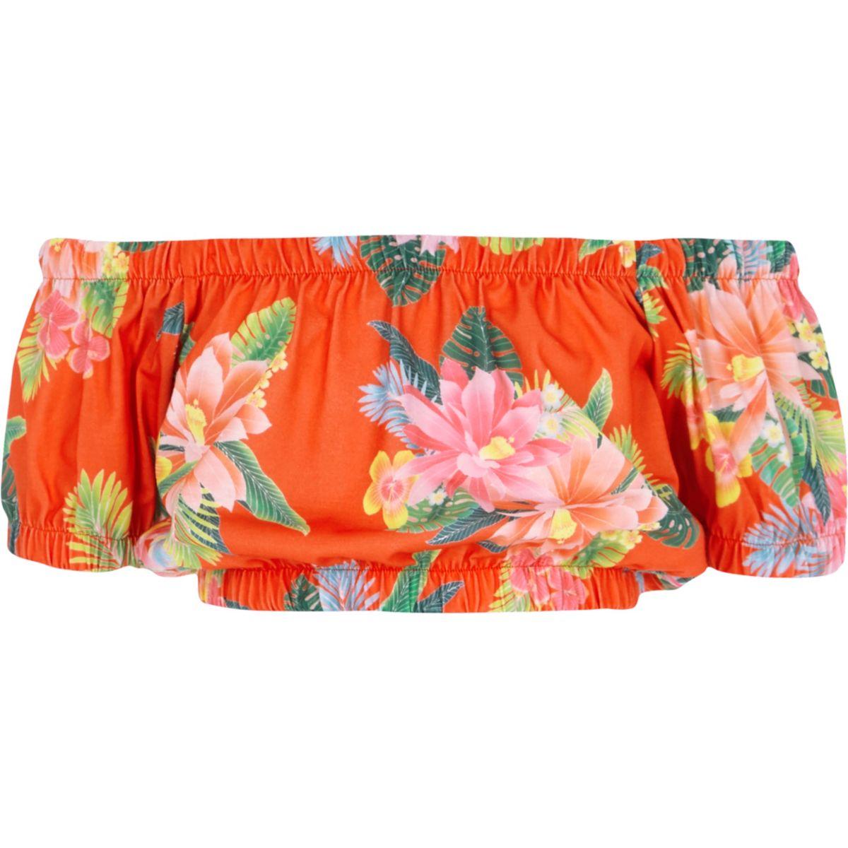 Girls red tropical print bardot crop top