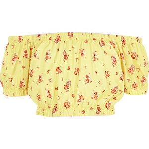 Girls yellow floral print bardot crop top