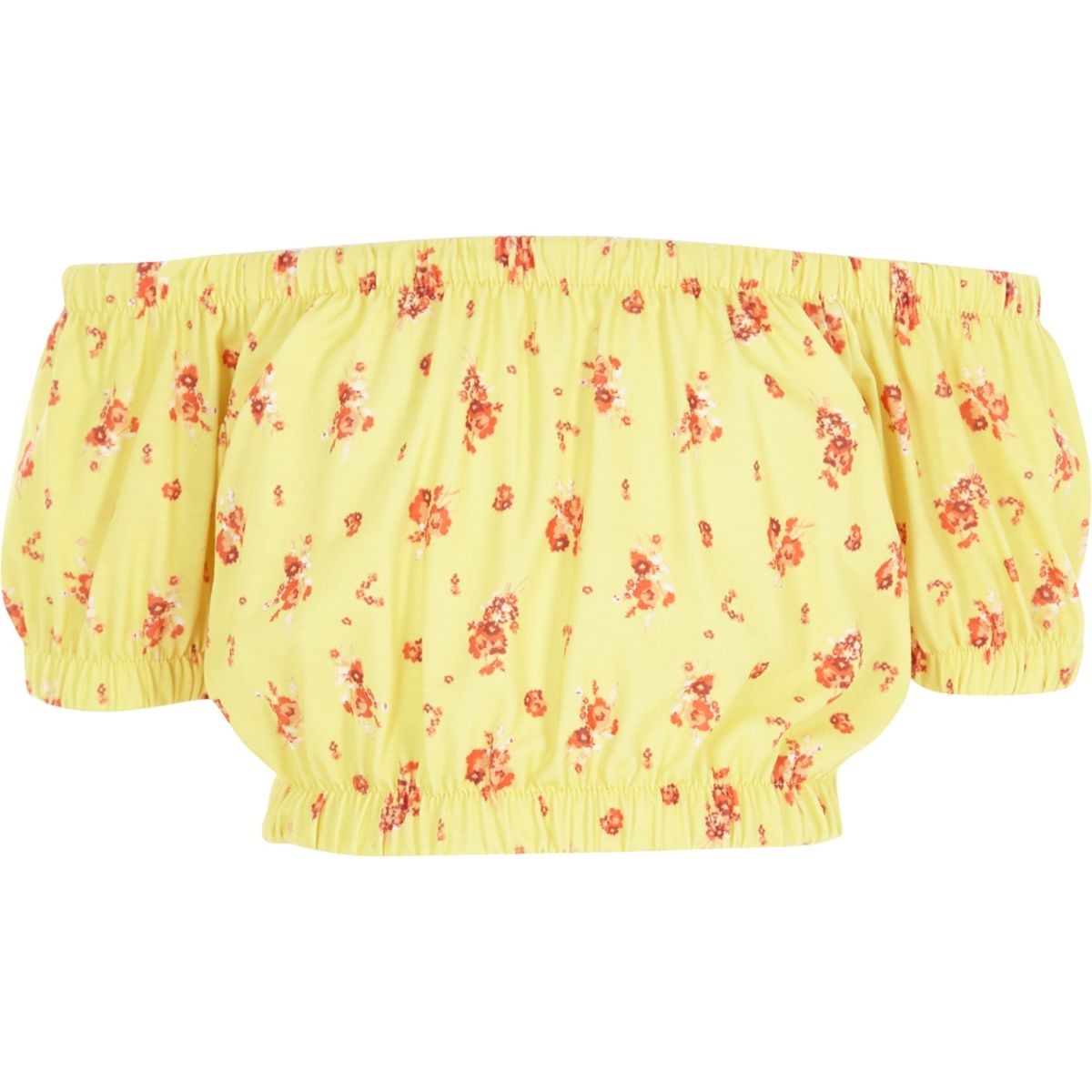 Girls yellow floral print bardot crop top