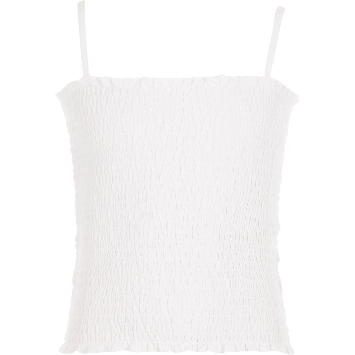 Girls white shirred cami top