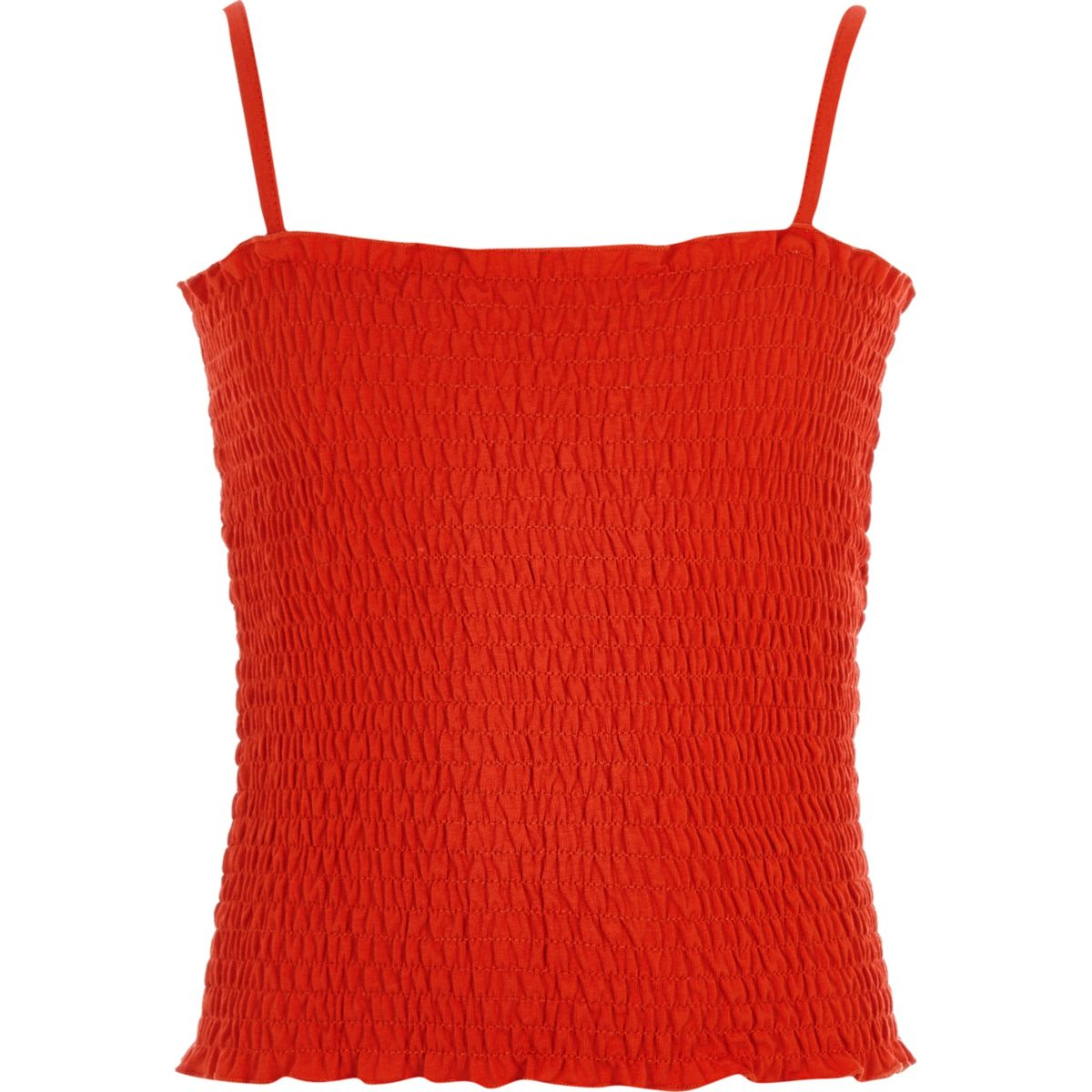 Girls orange shirred cami top