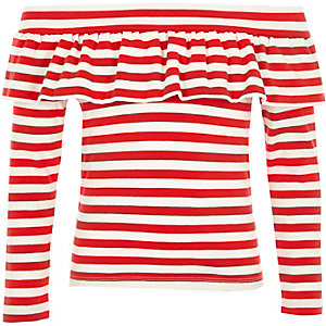Girls red stripe frill bardot long sleeve top