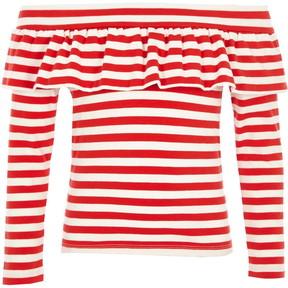 Girls red stripe frill bardot long sleeve top