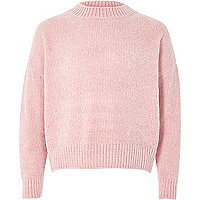 Girls light pink chenille jumper