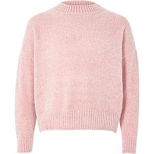Girls light pink chenille sweater