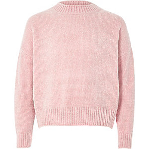 Pull chenille rose clair fille