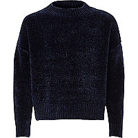 Girls navy chenille jumper