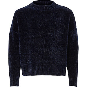 Girls navy chenille sweater
