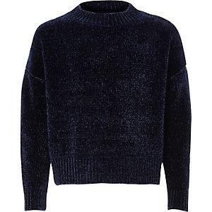 Marineblauwe chenille pullover voor meisjes