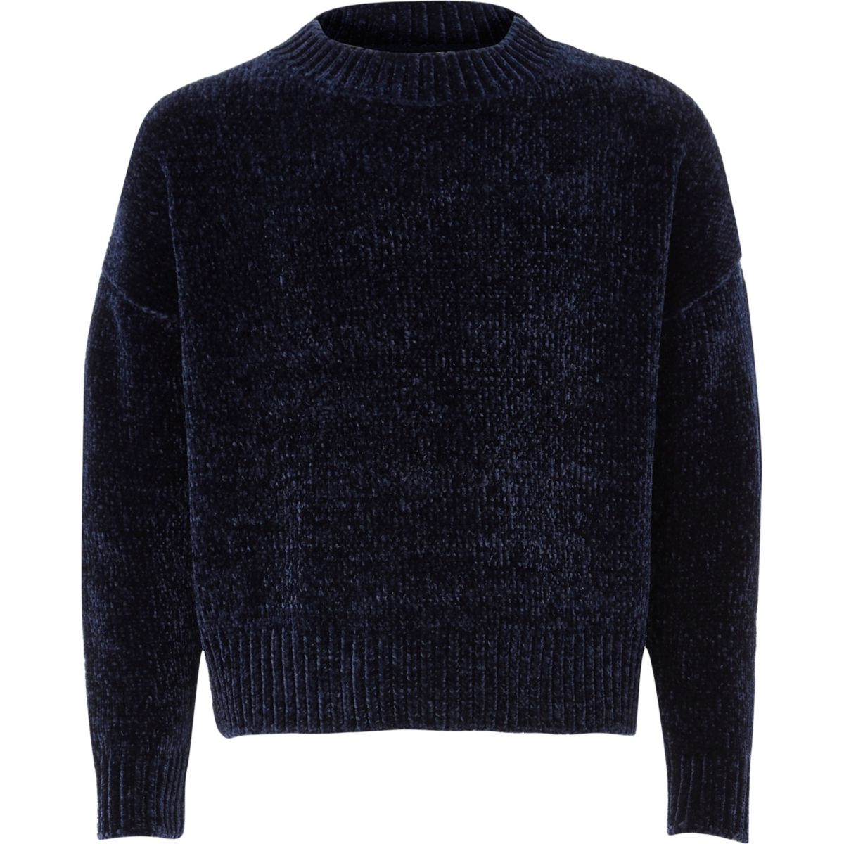 Girls navy chenille sweater