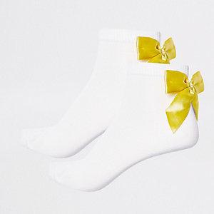 Lot de chaussettes jaunes à nœud pour fille
