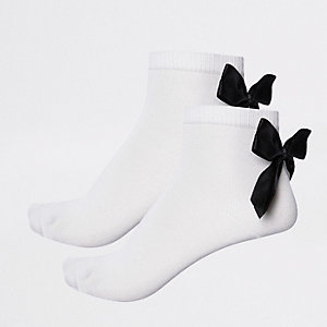 Girls black bow ankle socks multipack