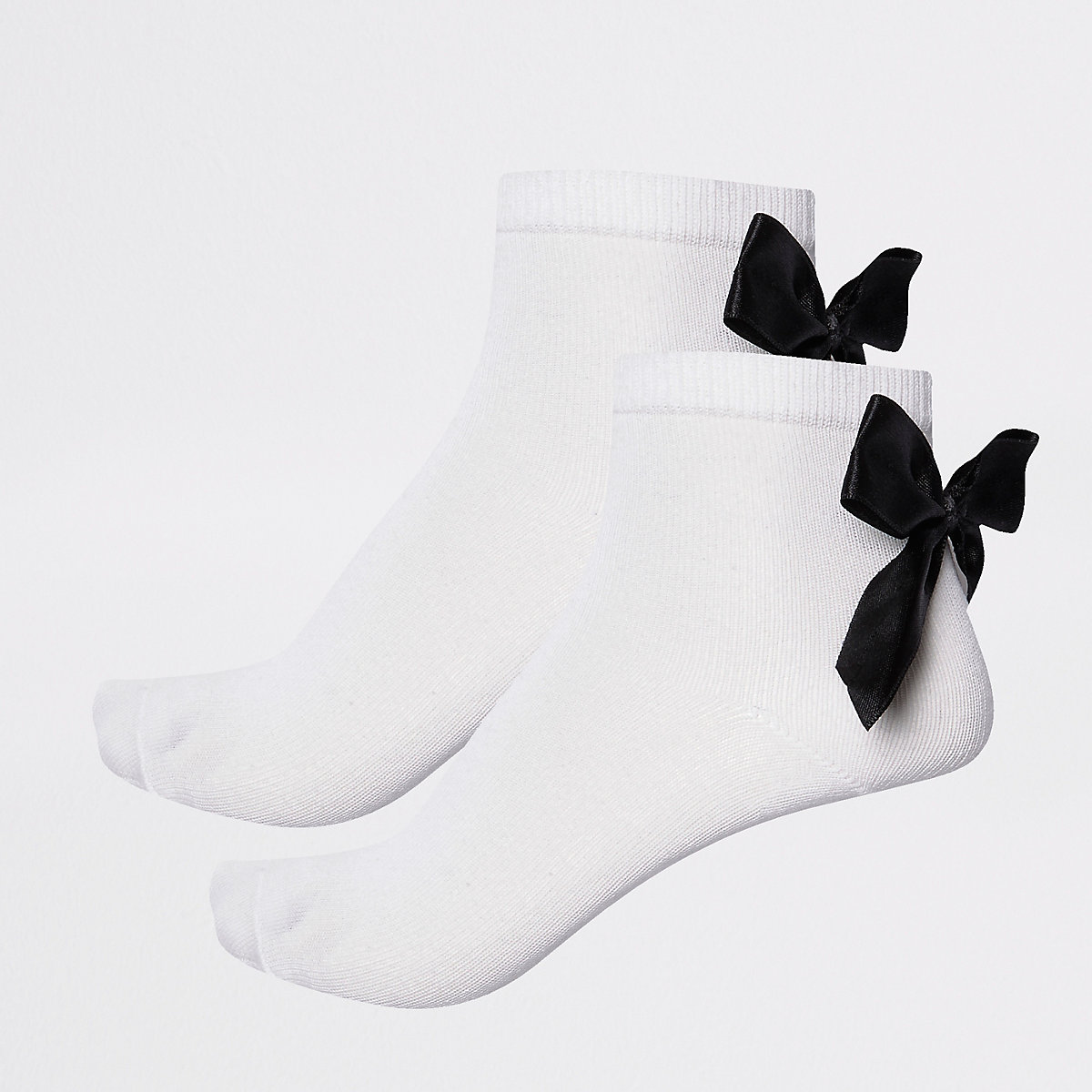 Girls black bow socks multipack