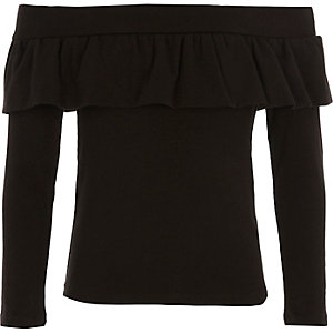 Girls black frill bardot top