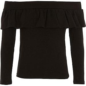 Girls black frill bardot top