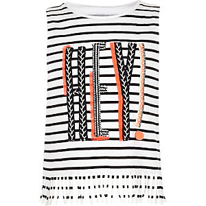 Girls white 'Hey!' striped tassel tank top