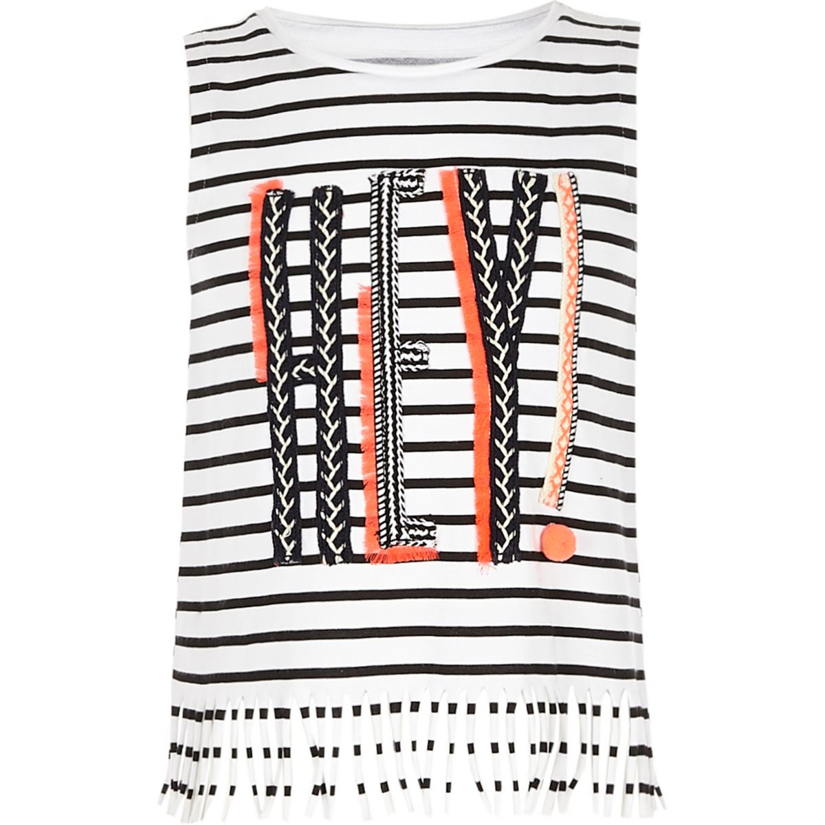 Girls white 'Hey!' striped tassel tank top