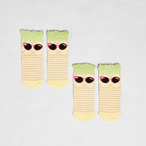 Mini girls yellow pineapple socks