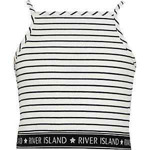 Witte gestreepte cami crop top met RI-logo op de zoom voor meisjes
