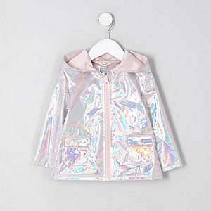 Mini girls silver iridescent raincoat