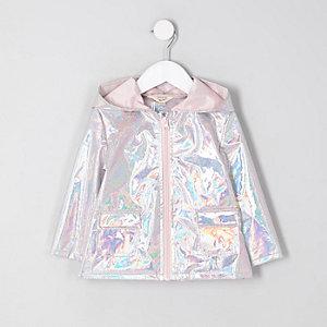 Mini - Zilverkleurige iriserende regenjas voor meisjes