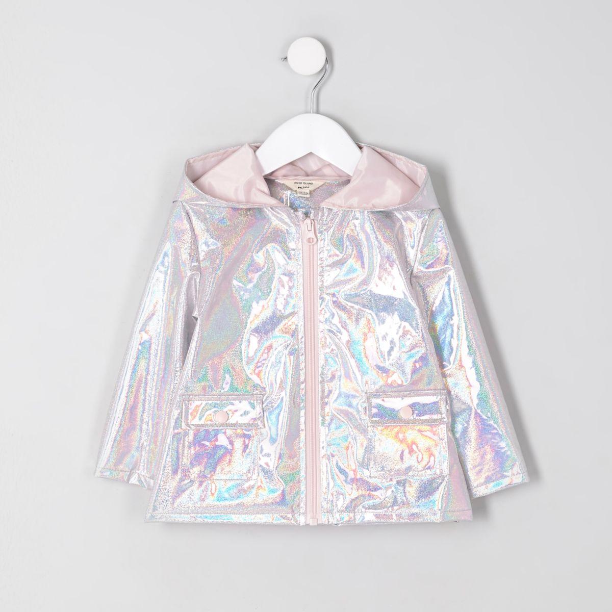 Mini girls silver iridescent raincoat