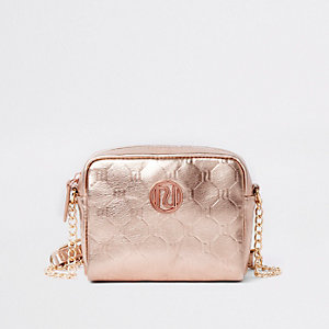 Girls rose gold RI monogram cross body bag