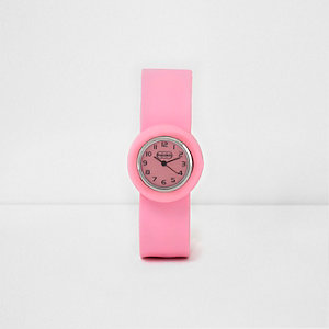 Girls light pink snap on watch
