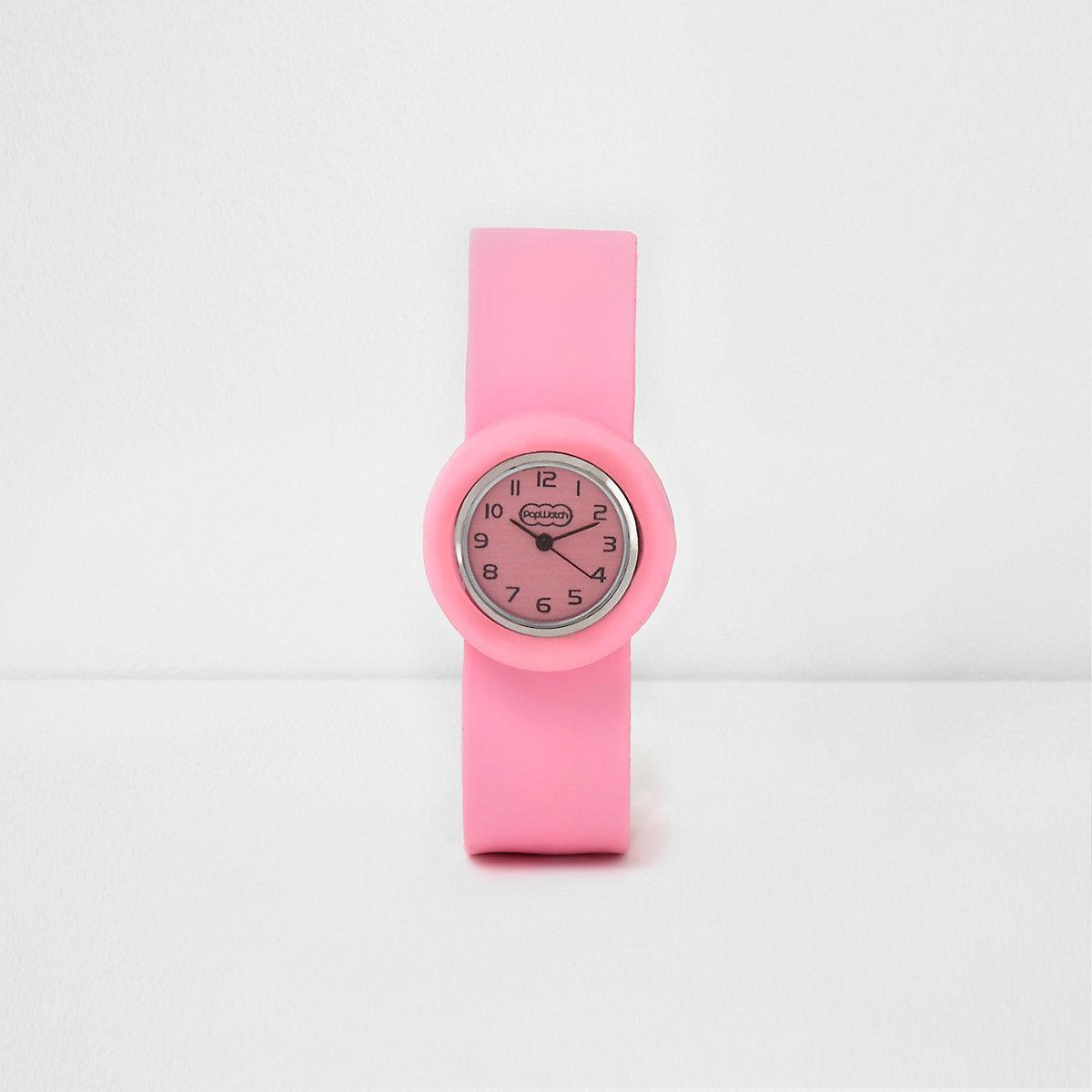 Girls light pink snap on watch