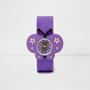 Girls purple butterfly snap on watch