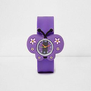 Snap-on-Armbanduhr mit Schmetterlingsmotiv