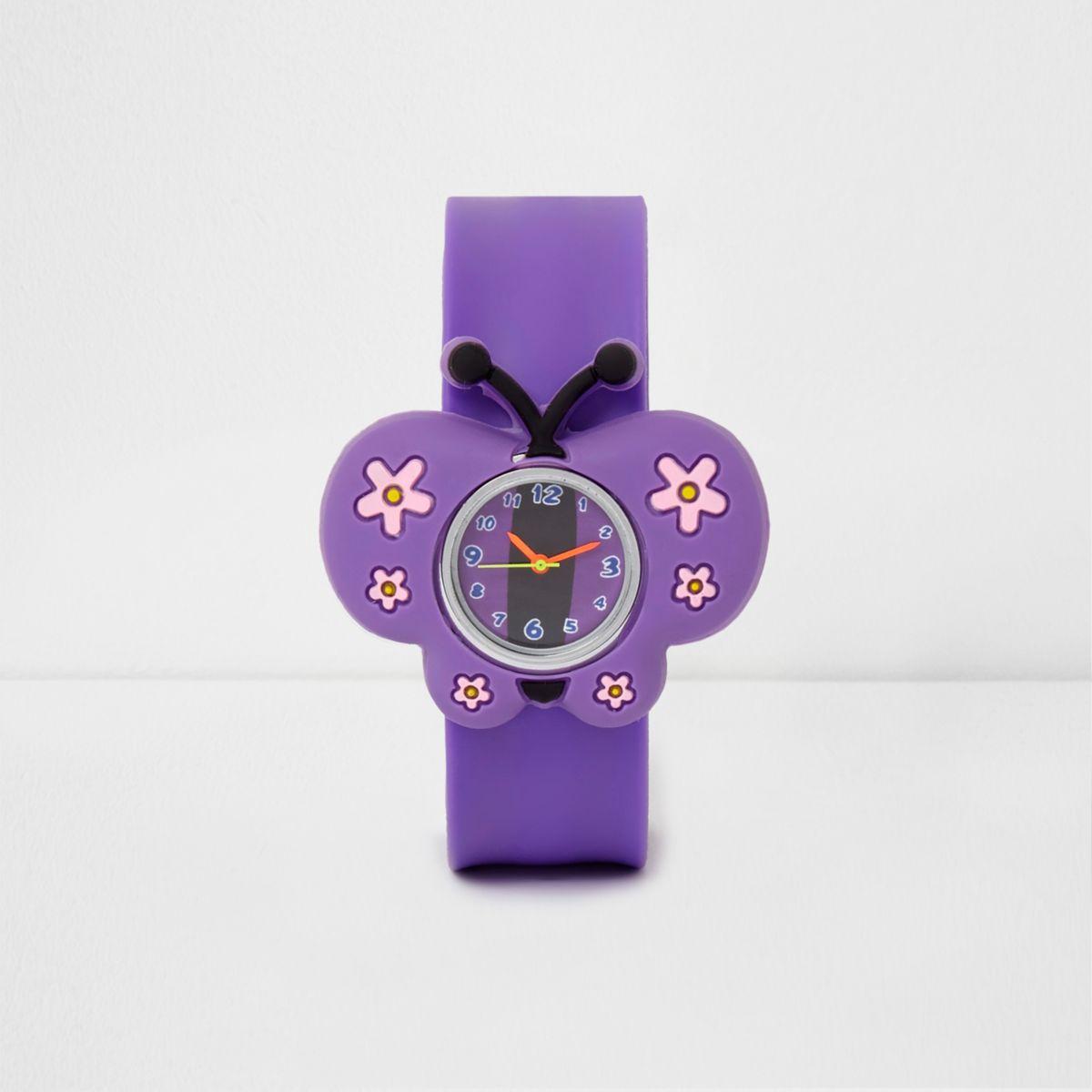 Girls purple butterfly snap on watch