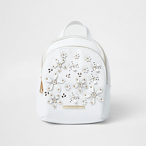 Girls white 3D flower backpack