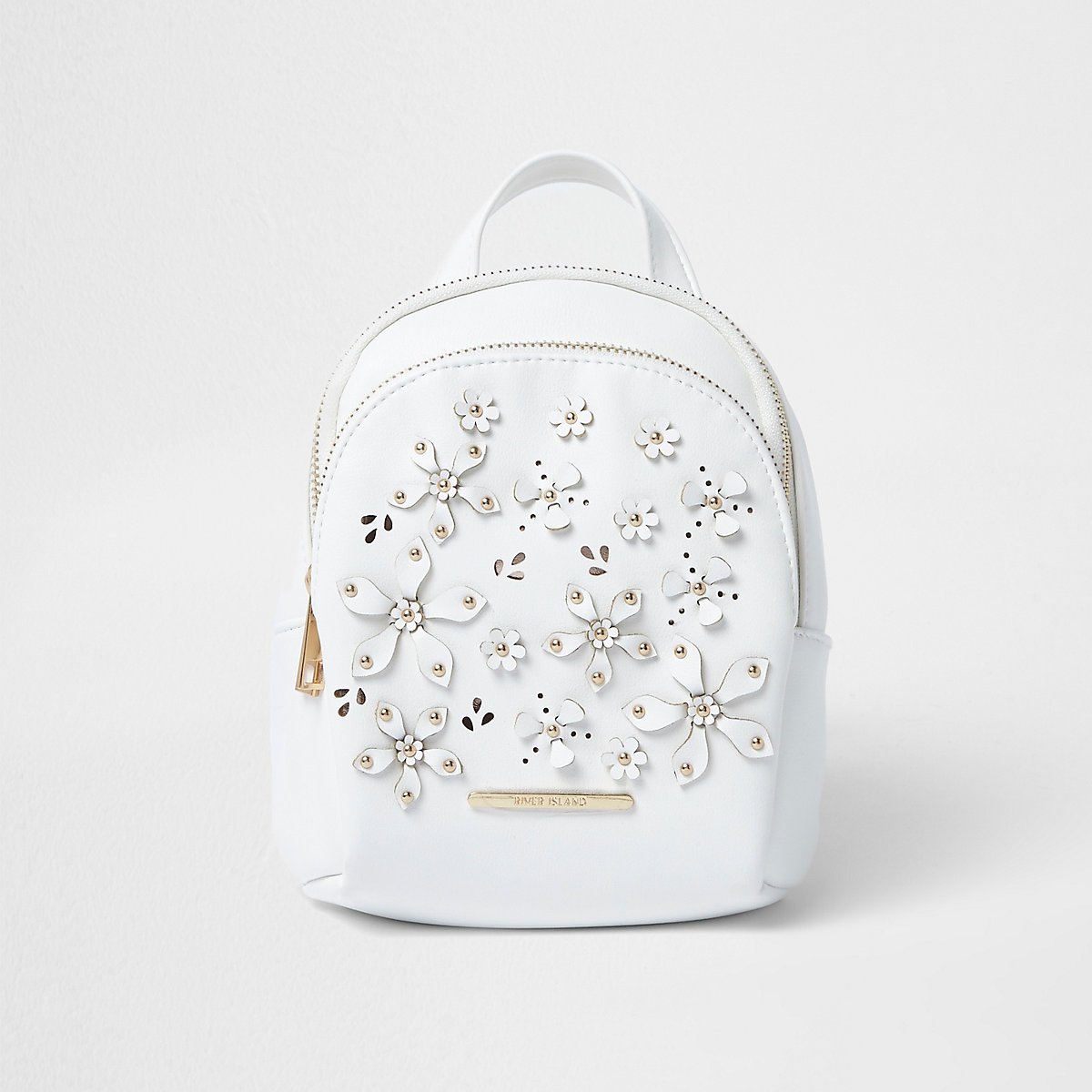 Girls white 3D flower backpack