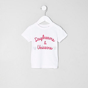 Mini girls white 'daydreams' print T-shirt