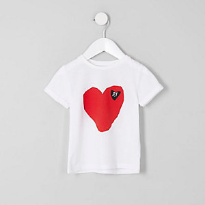 Mini girls white RI heart print T-shirt