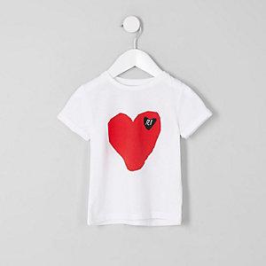Mini - Wit T-shirt met RI-hartenprint voor meisjes