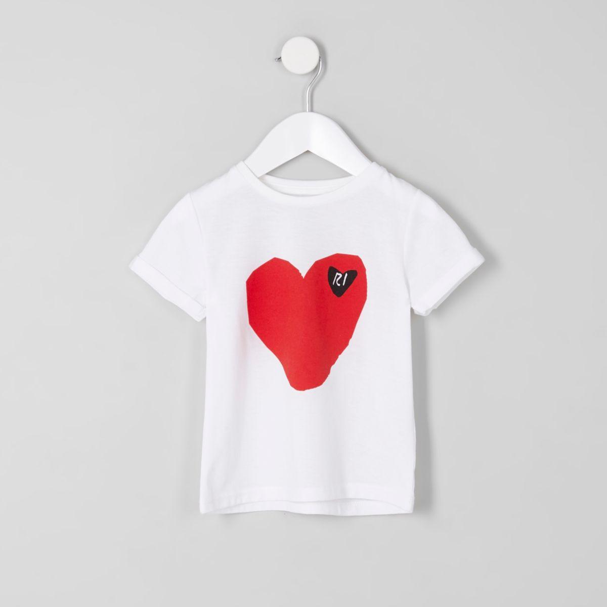 Mini girls white RI heart print T-shirt