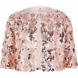 Roségoudkleurig jasje met pailletten voor meisjes