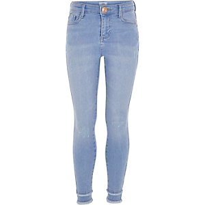Girls blue Amelie frayed super skinny jeans