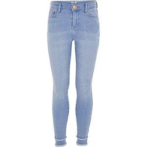 Amelie - Blauwe gerafelde superskinny jeans voor meisjes