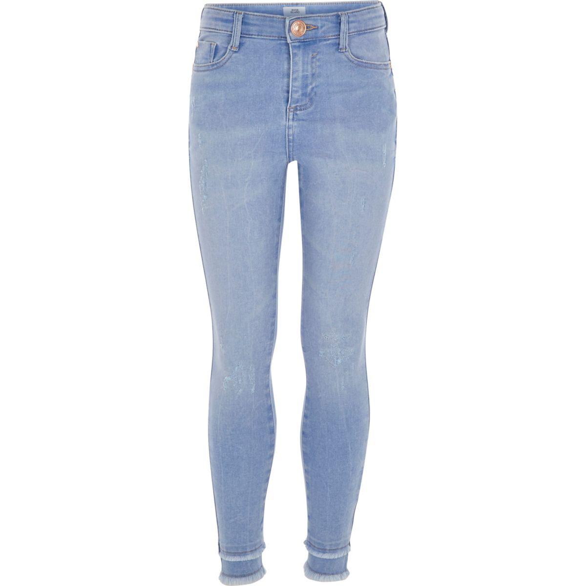 Girls blue Amelie frayed super skinny jeans