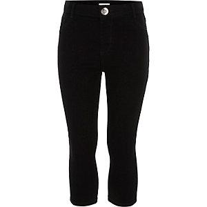Molly - Zwarte cropped jeans met halfhoge taille voor meisjes