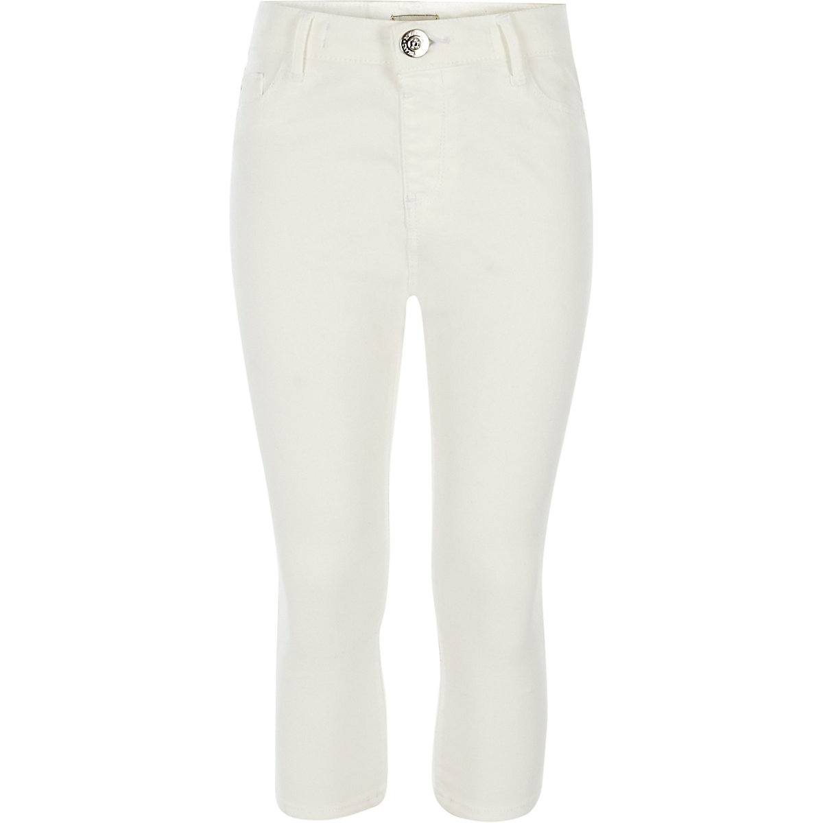 Girls white Molly cropped mid rise jeans