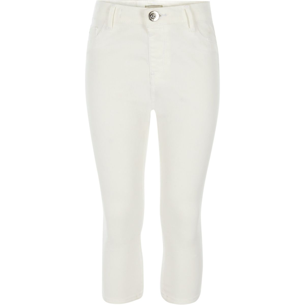 Molly – Weiße Cropped-Jeans mit mittelhohem Bund