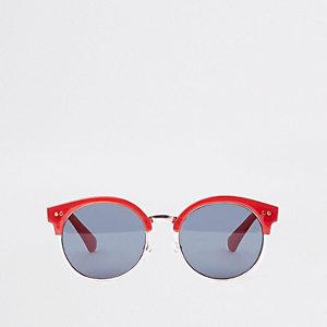 Lunettes de soleil rétro avec verres teintés rouges pour fille