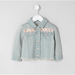 Veste en denim bleu brodée mini fille