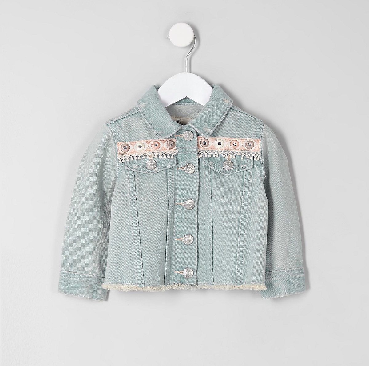 Mini girls blue embroidery denim jacket